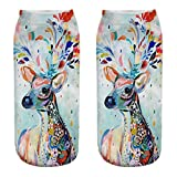 MaxFox Variety of Patterns 3D Christmas Cotton Sock Comfortable Print Short Slippers Ankle Socks for Xmas Gifts (G)