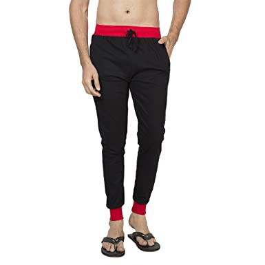6314b27ddb Clifton Men's Ribbed Slim Fit Track Pant - Black-Red: Amazon.in ...
