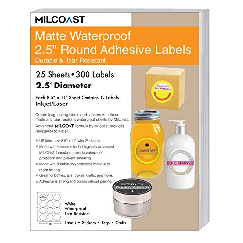 Milcoast Matte Waterproof Tear Resistant White Blank Adhesive 2.5 Round Circle Shaped Labels - for Laser/Inkjet Printers - 300 Labels (25 Sheets)