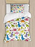 Ambesonne Kids Duvet Cover Set Twin Size, Cartoon Style Colorful Lovely Dinosaurs T-Rex Triceratops Prehistoric Reptile Wildlife, Decorative 2 Piece Bedding Set with 1 Pillow Sham, Multicolor