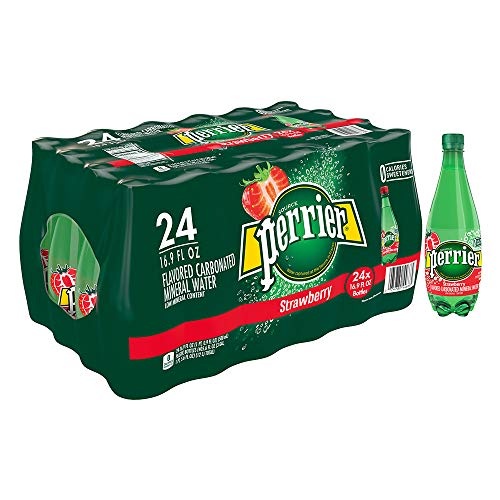 Perrier Strawberry Flavored Carbonated Mineral Water, 16.9 fl oz. Plastic Bottles (24 Count)