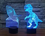 [2 in 1 Gift Set] Dinosaur & Shark 3D Night Light 7 Colors Changing Optical Illusion Desk Lamp for Room Decor & Baby Nursery, Perfect Holidays and Birthday Gift for Kids