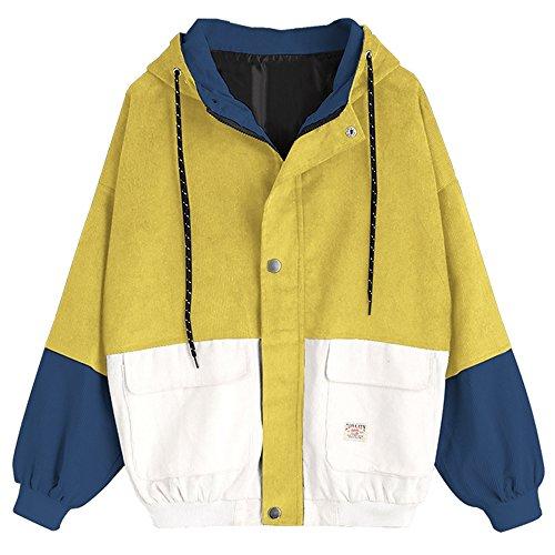ZAFUL Women's Corduroy Loose Hooded Jacket Vintage Color Blocking Raglan Sleeve Casual Coat Windbreaker Yellow L