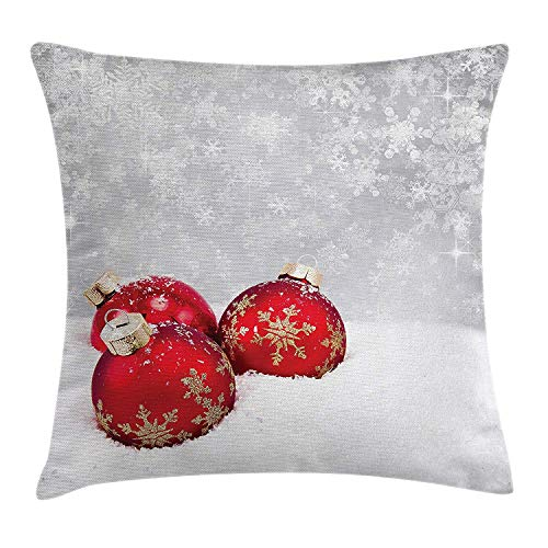 Queolszi Christmas Throw Pillow Cushion Cover, Xmas Baubles on Snow with Snowflakes Ice Holiday Humanitarian Artwork Illustration, Decorative Square Accent Pillow Case, 20 X 20 Inches, Red White -
