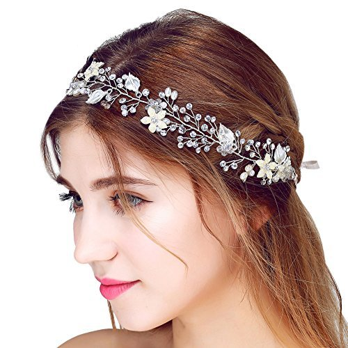 FAYBOX Bridal Vintage Crystal Pearl Hairbands Wedding Hair Accessories Silver
