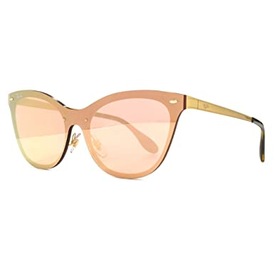 2ca184846b Ray-Ban Blaze Cats Sunglasses in Gold Pink Mirror RB3580N 043 E4 43   Amazon.co.uk  Clothing