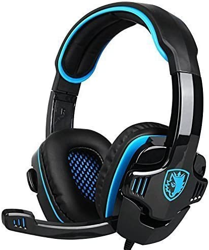 SA708 GT Version Over Ear Computer Headphone with Mic For Laptop PC//Mac//PS4//iPad//iPod//Phones SADES Updated Verison Stereo Gaming Headset Black Blue