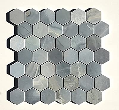 "Genoa Blue 2"" Hexagon Marble Mosaic Tile Backsplash Wall Floor"