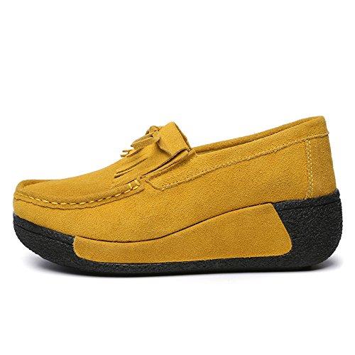 Enllerviid Enlleviid Kvinnor Slip-on Mocka Driv Mockasiner Plattform Loafers Komfort Walking Arbetsskor 1329 Gul