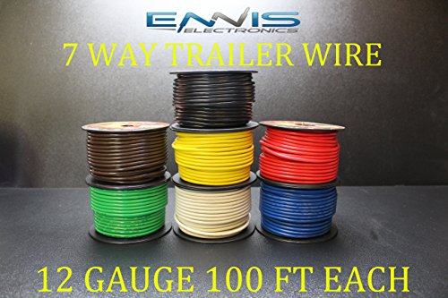 Light Cable Spools (12 GAUGE TRAILER LIGHT WIRE 700 FT ENNIS ELECTRONICS 7 WAY TRAILER LIGHT 100 FT SPOOLS PRIMARY CABLE BROWN GREEN YELLOW WHITE RED BLUE BLACK)