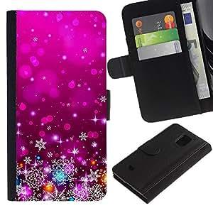 Púrpura de Navidad Navidad Decoración Luces- la tarjeta de Crédito Slots PU Funda de cuero Monedero caso cubierta de piel Para Samsung Galaxy S5 Mini (Not S5), SM-G800