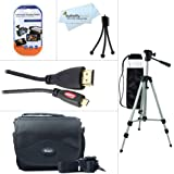Starter Accessories Kit For The Canon VIXIA Mini Compact Personal Camcorder Includes Deluxe Carrying Case + 50 Tripod With Case + Mini HDMI Cable + LCD Screen Protectors + Mini TableTop Tripod + More