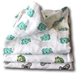 Organic Muslin Baby Swaddle Blankets | Bonus Burp Cloth and Blanket Tips E-Guide PDF |Large 48''x48''