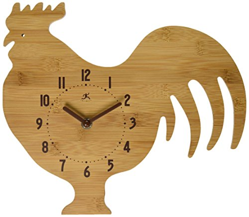 Infinity Instruments Roost and Serve Bamboo Wall Clock - Bamboo case Rooster shape Brown plastic hands - wall-clocks, living-room-decor, living-room - 51lLmFPCnML -