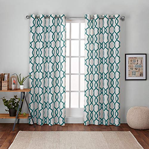 Exclusive Home Curtains Kochi Linen Blend Window Curtain Panel Pair with Grommet Top, 54x84, Teal, 2 Piece