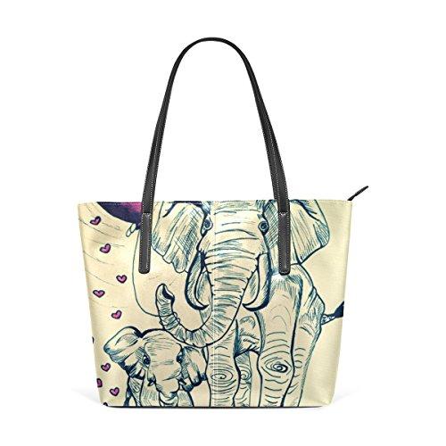 4e00c2adb3456 COOSUN Malerei Elefanten PU Leder Schultertasche Handtasche und Handtaschen  Tasche für Frauen
