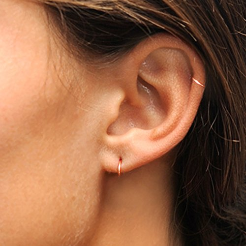 Rose Gold Flashed Sterling Silver Small Endless 10mm Round Unisex Hoop Earrings Photo #2