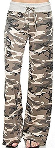X-Image Women's Summer Yoga Pants High Waisted Wide Leg Casual Floral Print Lounge Pants Trousers Plus Size Camo