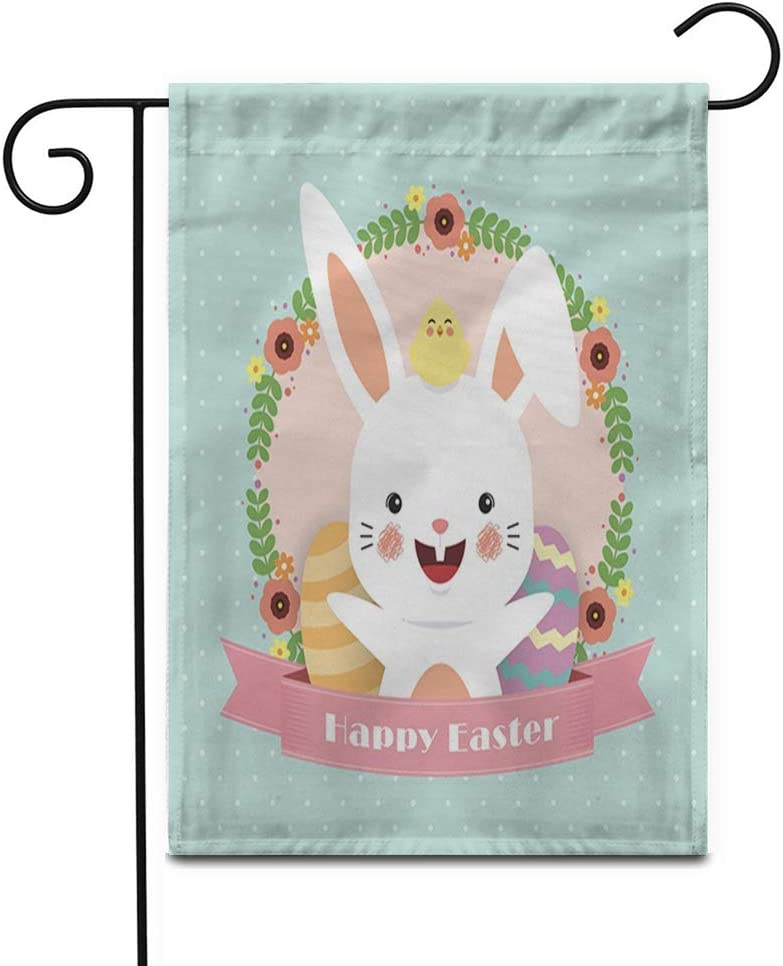 """Awowee 12""""x18"""" Garden Flag Easter Cute Cartoon Rabbit Baby Chick Flower Wreath Eggs Outdoor Home Decor Double Sided Yard Flags Banner for Patio Lawn"""