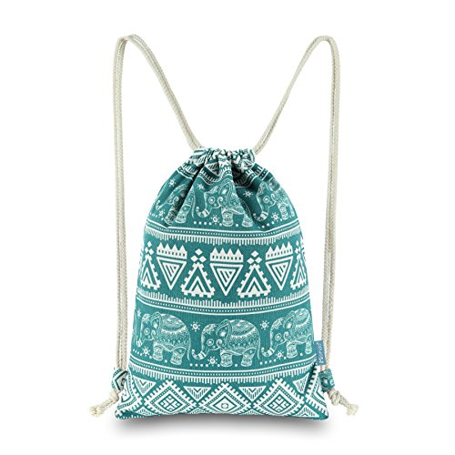 Miomao Drawstring Backpack Bags, Elephant Geometric Canvas Outdoor Sackpack with Pockets, Sport Gymsack Knapsack Shoulder Tote Bags Unisex Handbags Yoga Daypack Travel Rucksack, 13