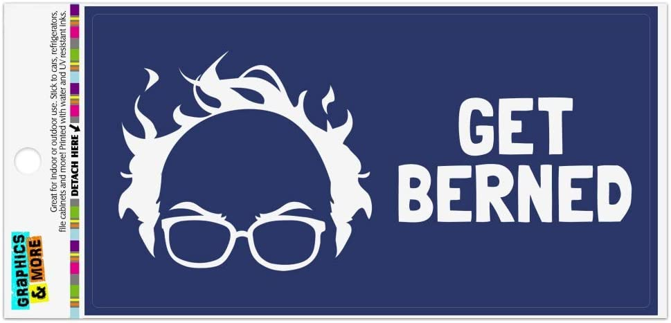 Graphics and More Get Berned Burned Bernie Sanders Burning Democrat Hair Automotive Car Refrigerator Locker Vinyl Magnet