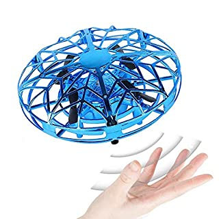 HOGzka Mini UFO Drone with Automatic Recognition and Avoidance of Obstacles,Three-Color LED Lights.Suitable for Parents and Cildren to Play (Blue,1 Pack)