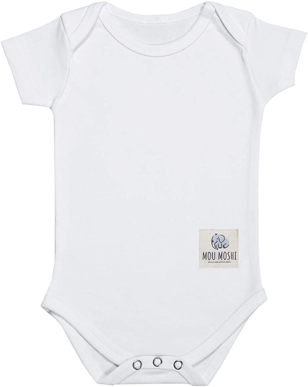 Mou Moshi Organic Cotton 18-24 Mounts Short-Sleeved Babygro White