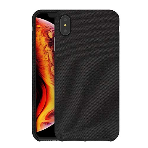 - bb face for iPhone Xs Max Case Fabric Back Cover Hard Plastic Protective Phone Case Supports Wireless Charging for iPhone Xs Max (2018) 6.5 inch - Chocolate Black