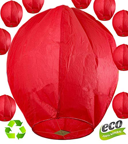 (Nuluphu ECO (No Iron Wire) Chinese Sky Lanterns Fully Assembled and Fully Biodegradable Fly Candle Lamps Friendly Beautifully for Christmas, New Years Eve, Wish Parties &Weddings(Pack of 10) (Red))