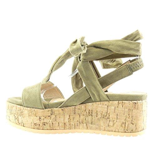 Angkorly Damen Schuhe Sandalen Mule - Plateauschuhe - String Tanga - Knoten - Kork Keilabsatz High Heel 6.5 cm Grüne