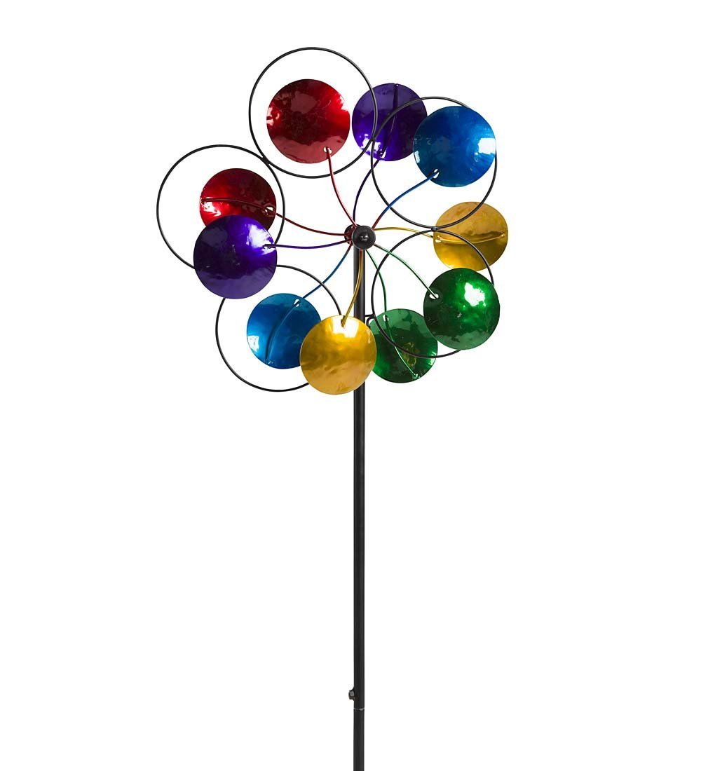 Midi Colorful Circles Medium Outdoor Metal Garden Wind Spinner 14 dia. x 48 H
