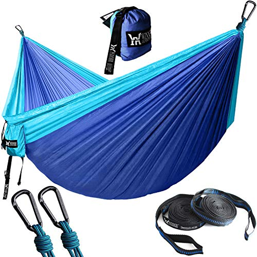 "WINNER OUTFITTERS Double Camping Hammock with Straps - Lightweight Nylon Portable Hammock, Best Parachute Double Hammock for Backpacking, Camping, Travel, Beach, Yard. 118""(L) x 78""(W) Blue/Navy Blue"