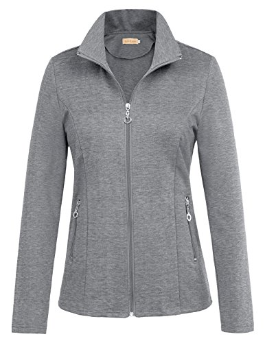 (Kate Kasin Casual Slim Fit Outdoor Windbreaker Open Front Track Jacket Coat (M,Gray))