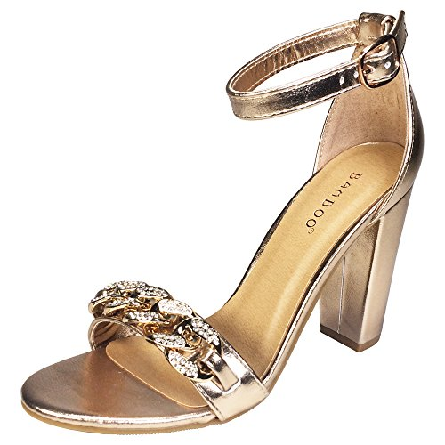 BAMBOO Women's Chain Ornament Single Band Chunky Heel Sandal With Ankle Strap, Rose Gold PU, 8.5 B US Sexy Gold Pu Women Shoes