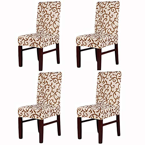 Awland Dining Chair Slipcovers Protector Removable Short Stretch Spandex Dining Room Banquet Chair Seat Cover for Kitchen Bar Hotel and Wedding Ceremony 4PCS - Champagne + Coffee