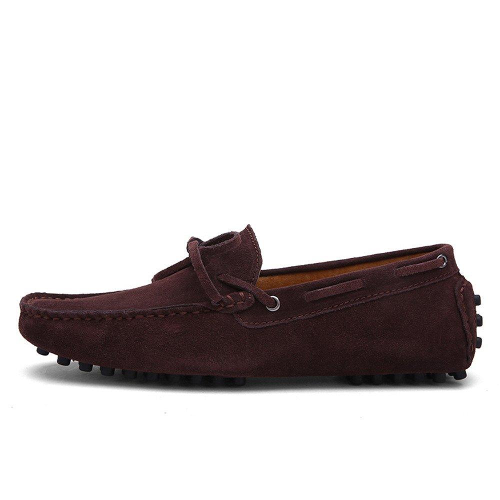 YJiaJu Mocassins Chaussures, Mocassins De Conduite en Cuir Véritable Mocassins De Bateau en Cuir Chaussures À Semelle en Caoutchouc pour Hommes (Color : Coffee, Taille : 48 EU)