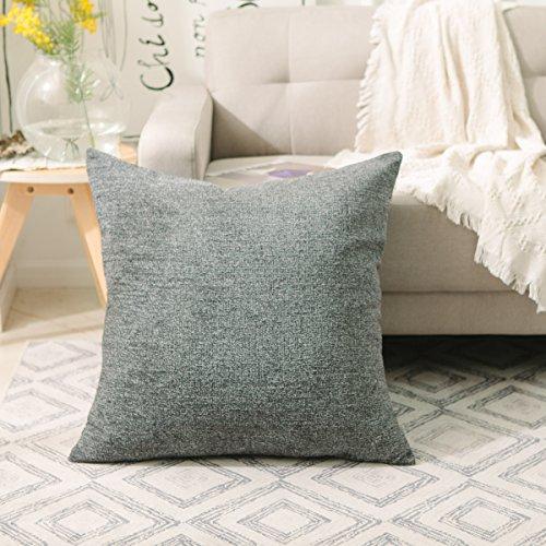 (HOME BRILLIANT Large Cushion Cover for Chair Striped Chenille Velvet Plush Pillowcase Euro Pillow Shams Protector, 26 x 26 inch (66cm), Dark Grey)