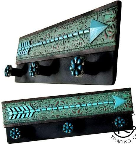 Southwestern Native American Arrow Turquoise Flowers Wall Hook Key Holder Coat Hanger 3 Hooks Rustic Hand Painted Decoration Office Products Amazon Com