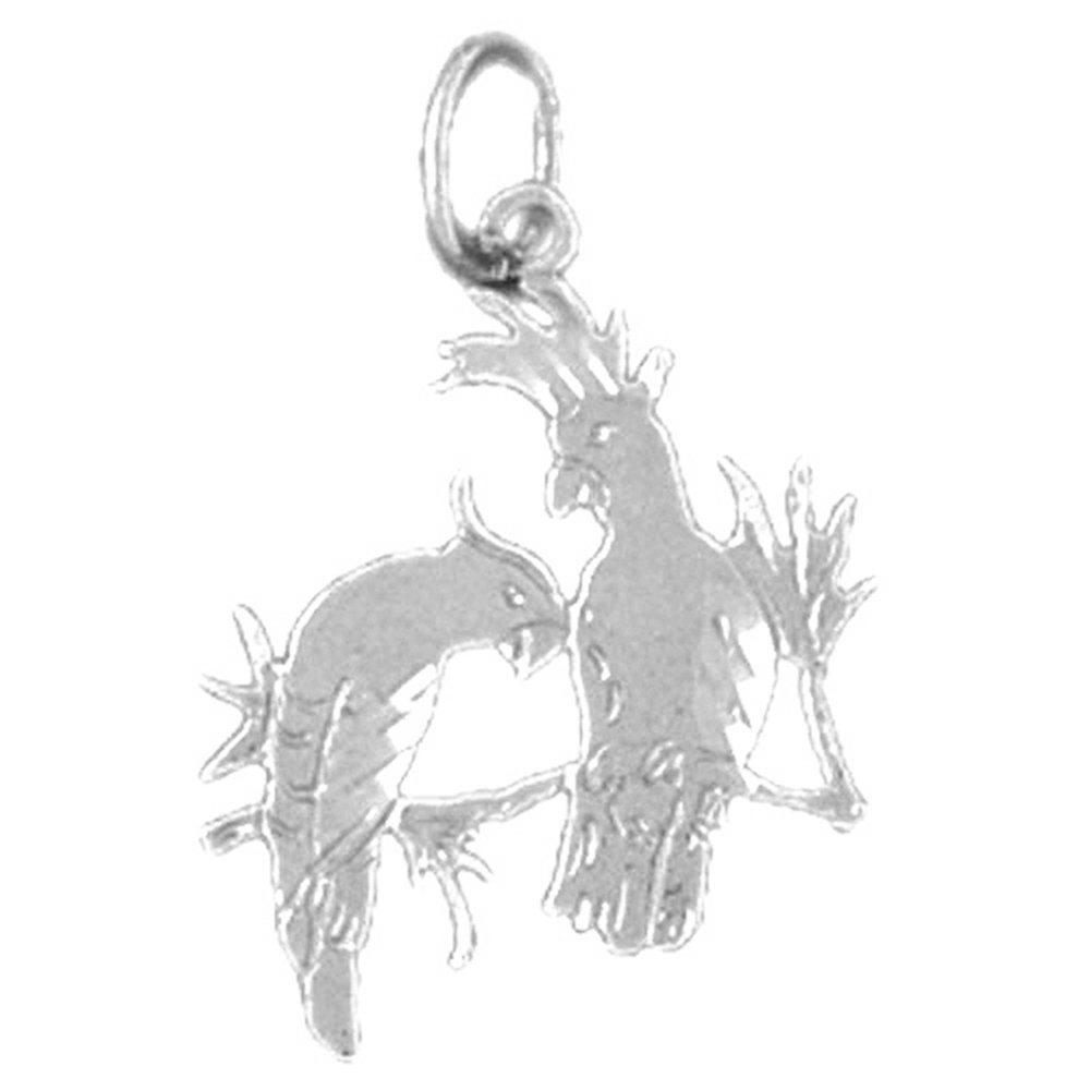 Jewels Obsession Parrot Necklace Rhodium-plated 925 Silver Parrot Pendant with 24 Necklace