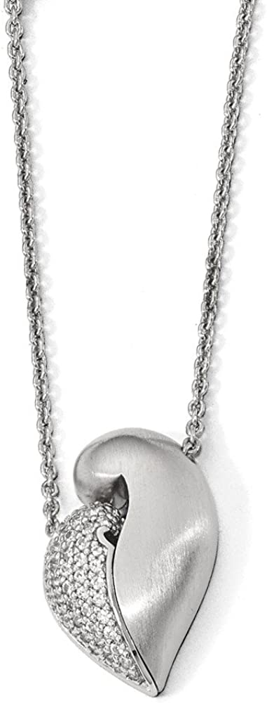 """Solid 925 Sterling Silver Polished & Satin with Simulated Sapphire Magnetic Heart Adj Necklace Chain 22"""" (1mm)"""