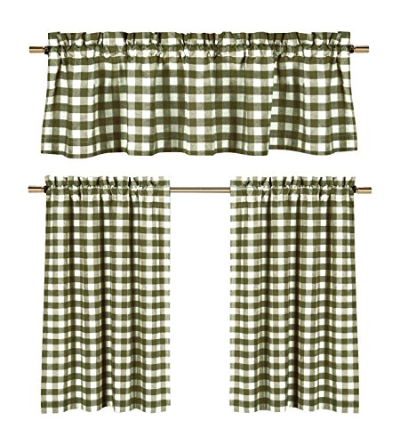- Sage Green White Kitchen Curtains: Gingham Checkered Plaid Design