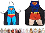 15 Styles Aslana Funny Apron for Couple - 1 Pair (2pcs) Sexy Novelty Chef Craft Apron Kitchen Cooking BBQ Party, 28'' x 22'' (Ms. & Mr. Superman)