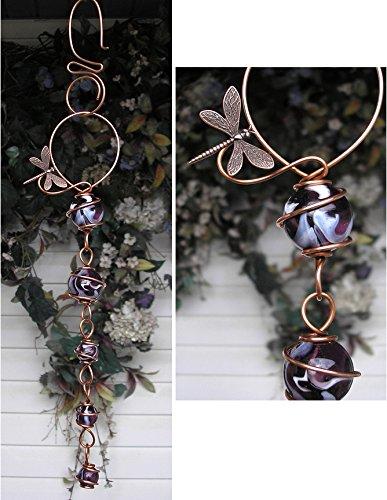 Dragonfly Suncatcher Cascade - Metal Sculpture - Glass Copper Art - Yard Lawn Outdoor Pond Decor Violet ()
