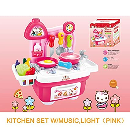Amazon Com Kitchen Play Set Cooking Kids Toy W Light Music