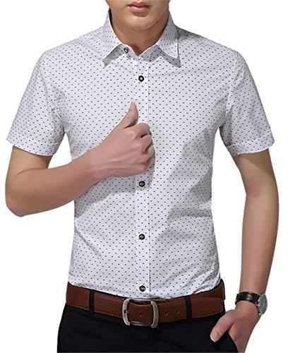 Aiyino Mens 100% Cotton Slim Fit Short Sleeve Prints Dress Shirt US L White (Dress White Half Sleeve Shirt)