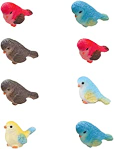 Yardwe 8Pcs Mini Bird Figurines Animal Model Toys for Home Decor Miniature Fairy Garden Decoration Ornament