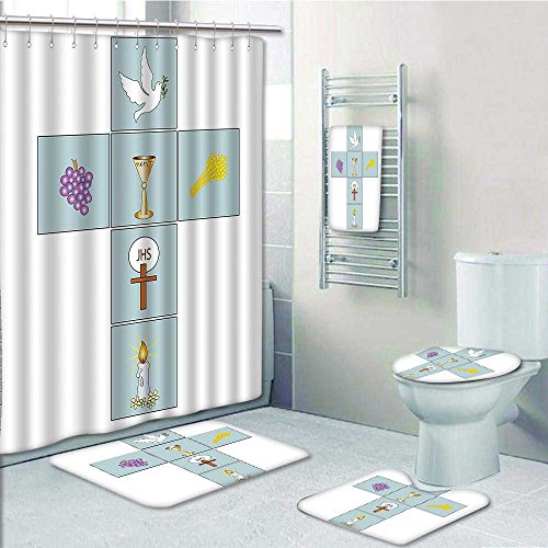 Designer Bath Polyester 5-Piece Bathroom Set,Baptismal Cross Bible Faith Believing Greeting Welcoming Baptize BasIn Christ Art Print bathroom rugs shower curtain/rings and Both Towels(Medium size) - Ring Basin Liner