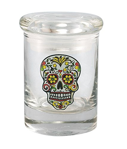 1/4oz Sugar Skull Glass Jar By Cannaline