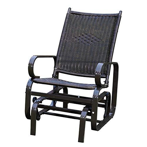 SunLife Porch Patio Glider Rocking Chair,PE Rattan Wicker Steel Frame Lawn Indoor Furniture