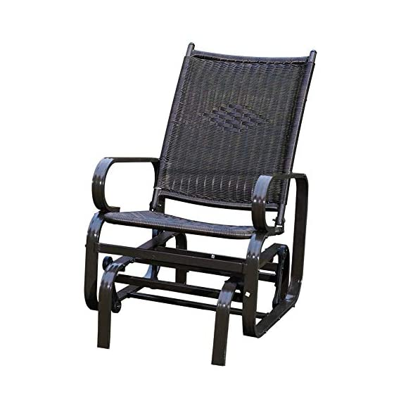 SunLife Porch Patio Glider Rocking Chair, PE Rattan Wicker Steel Frame Lawn Indoor Furniture - PE RATTAN WICKER&HEAVY DUTY FRAME - All weatherproof PE wicker fabric on an aluminum frame for comfort and durability use EASY TO ASSEMBLE - Simple assembly required, hardware and instructions included MODERN DESIGN - Curved arms and well ventilated bench seat provide more comfort - patio-furniture, patio-chairs, patio - 51lLpA8GYyL. SS570  -